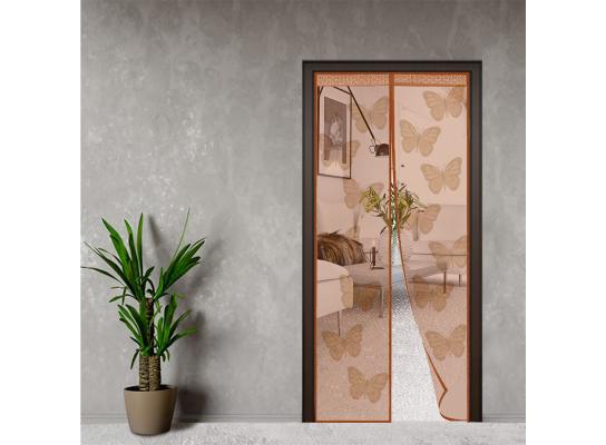 Дверная антимоскитная шторка Коричневый ажур Бабочки фото 3