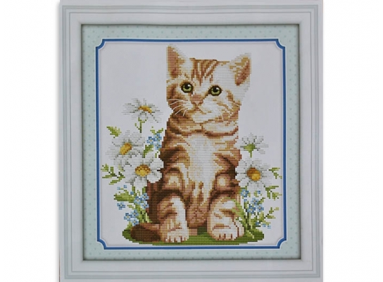 Набор для вышивки картины Котик Рыжик 34х32см фото