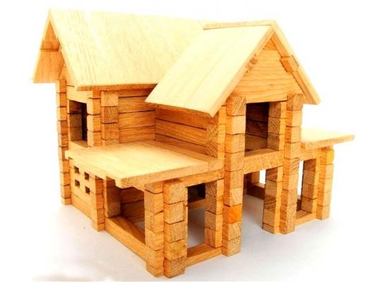 Деревянный конструктор Коттедж с мансардой на 126 дет. фото