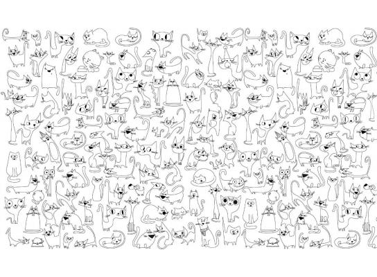 Наклейка - раскраска Веселые Коты 60х85см фото