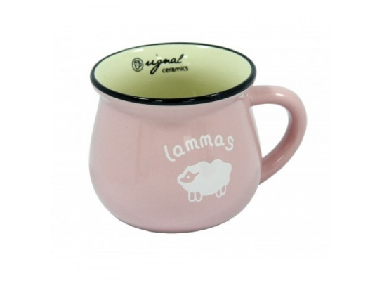 Чашка кувшин керамическая Zakka, розовая, 250 мл. Ягня фото