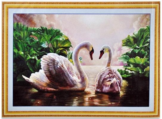 Набор для вышивки картины Лебеди 75х53см фото
