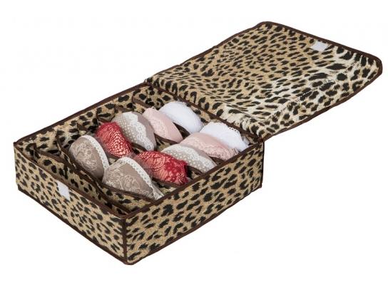 Коробочка для белья на 7 секций с крышкой леопард фото
