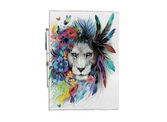 Блокнот на резинке Rainbow Лев в цветах фото