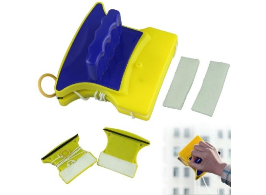 Магнитная щетка для мытья окон с двух сторон Glass Wiper фото