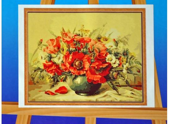 Картина на холсте по номерам Букет с маками фото
