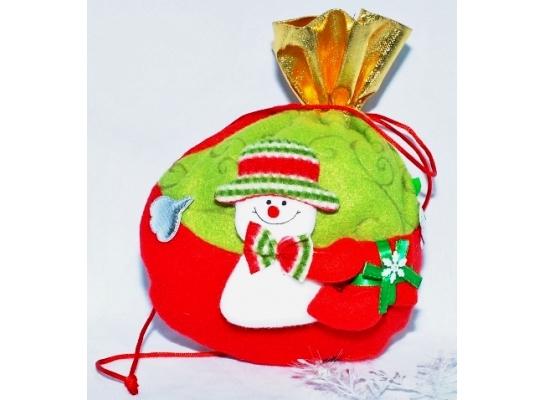 Новогодний мешок для подарков Снеговик фото