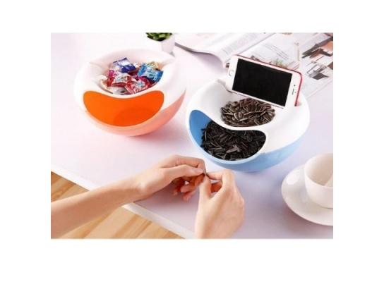 Миска для снэка, фруктов, чипсов с пазами для телефона фото