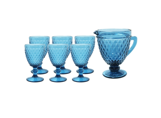 Набор 6 бокалов для вина VINTAGE синий, 300 мл. + 1 графин 1 л. look 707 фото