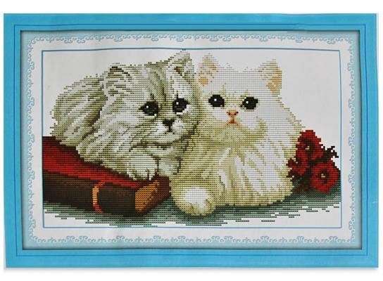 Набор для вышивки картины Пушистые Котики 45х31см фото