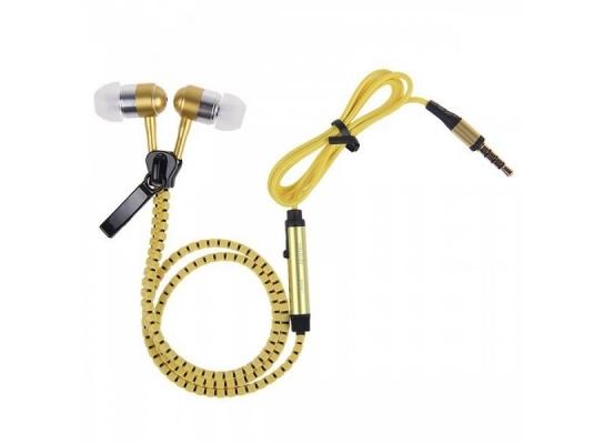 Наушники на молнии Zipper Earphones желтые