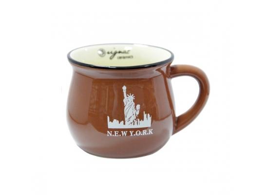 Чашка кувшин керамическая Zakka, шололадная, 250 мл. N.E.Y Y.O.R.K Нью Йорк фото