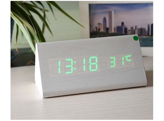 Часы Wooden Clock белые треугольные фото 3