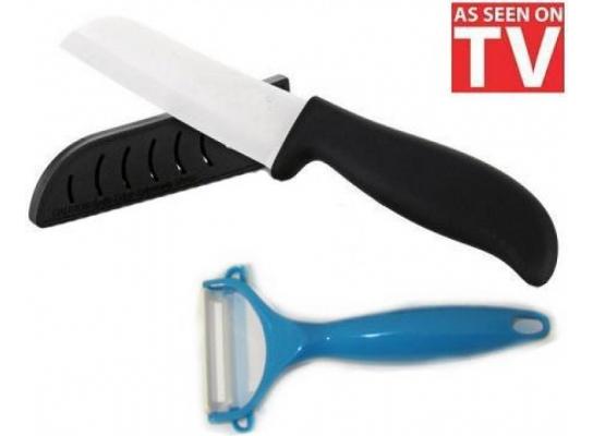 Керамический нож в чехле и овощечистка фото