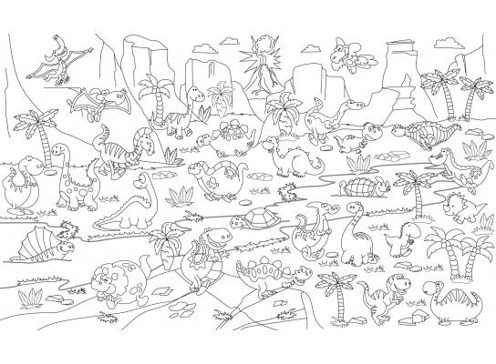 Наклейка - раскраска Динозавры 60х85см фото
