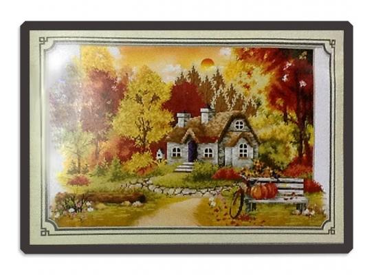 Набор для вышивки картины Лесная Хижина 68х48см фото