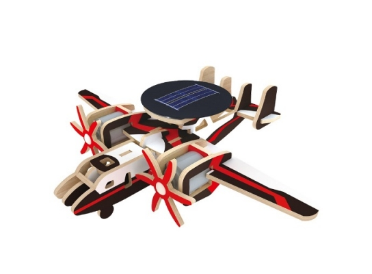 Деревянный конструктор «Самолет радиолокационной разведки» на солнечной батарее фото