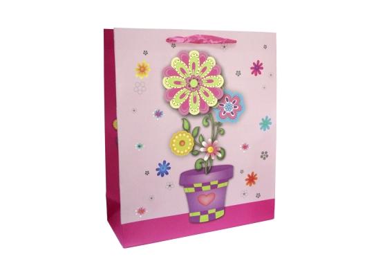 Пакет подарочный Букет 33х26х10, розовый фото