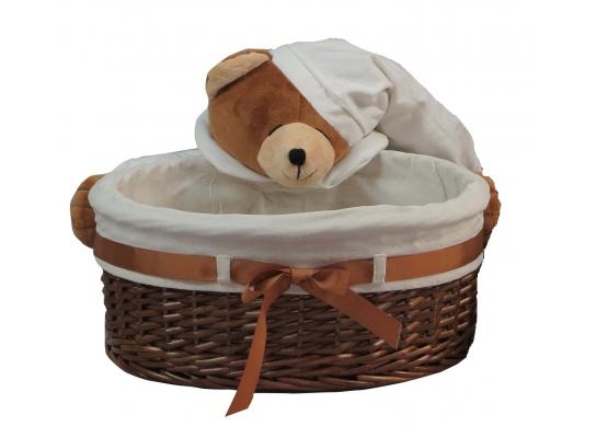 Плетеная овальная корзинка Мишкин сон