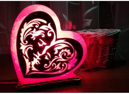 Соляная лампа Сердце поцелуй фото 1