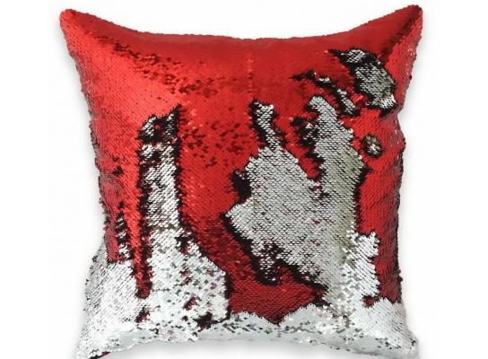 Подушка антистресс с пайетками-перевертышами красный/серебро фото 1
