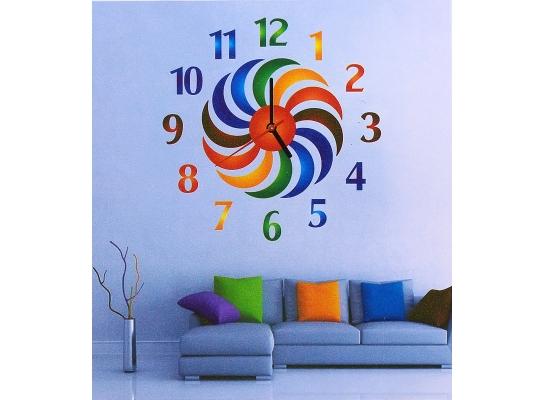Объемные часы - наклейка Радуга фото
