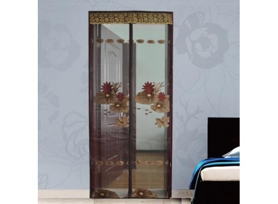 Дверная антимоскитная шторка на магнитах Коричневый Ажур фото