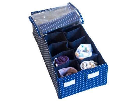 Органайзер для шарфиков/колгот с квадратными ячейками с крышкой Звездное небо фото