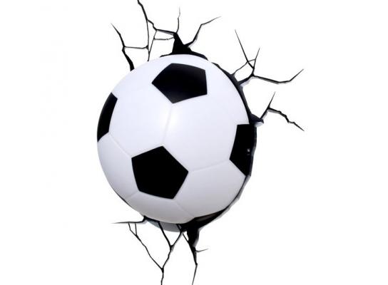 Светильник Футбольный мяч 3D в стене фото