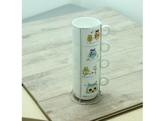 Набор чайный на 4 персоны на подставке Совы фото