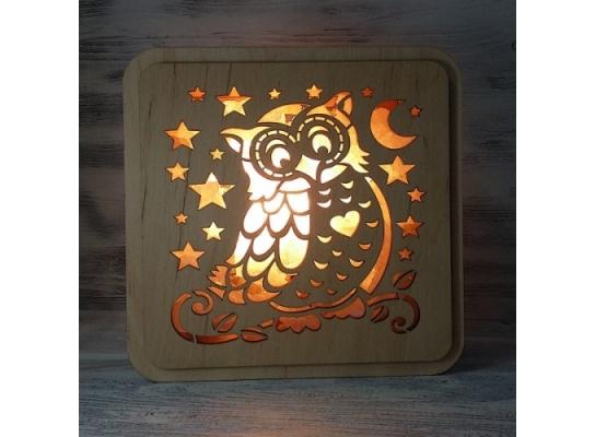 Соляная лампа Сова на ветке фото