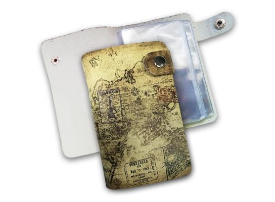 Кожаная кредитница на кнопке путишественник 20 карт фото 1