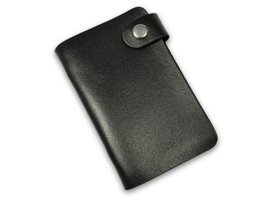Кожаная кредитница на кнопке черная 20 карт фото