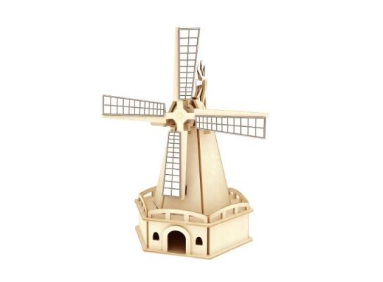 Деревянный конструктор «Ветряная мельница» на солнечной батарее фото