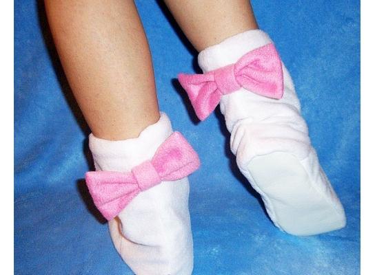 Тапочки белые с розовыми бантами Флис фото 1