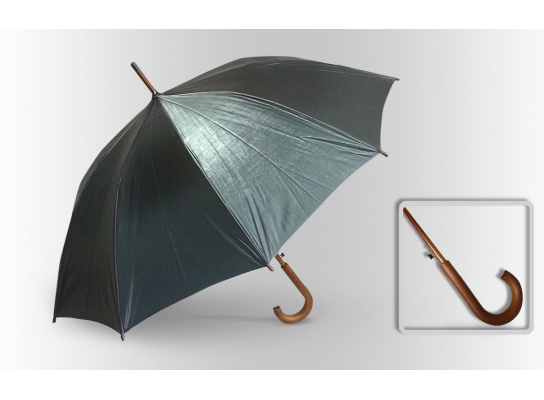 Зонт Антишторм трость Серебристый металлик фото