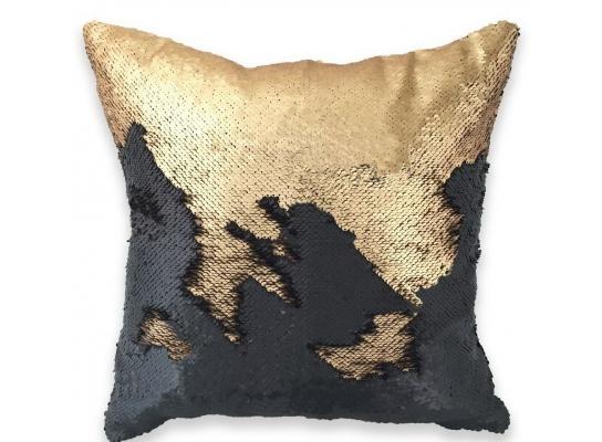 Подушка антистресс с пайетками-перевертышами черный/золото фото