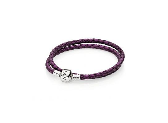 Фиолетовый кожаный браслет