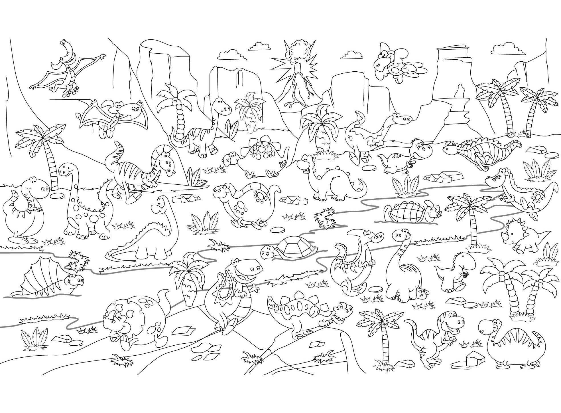 Наклейка - раскраска Динозавры 60х85см. Купить по выгодной ...